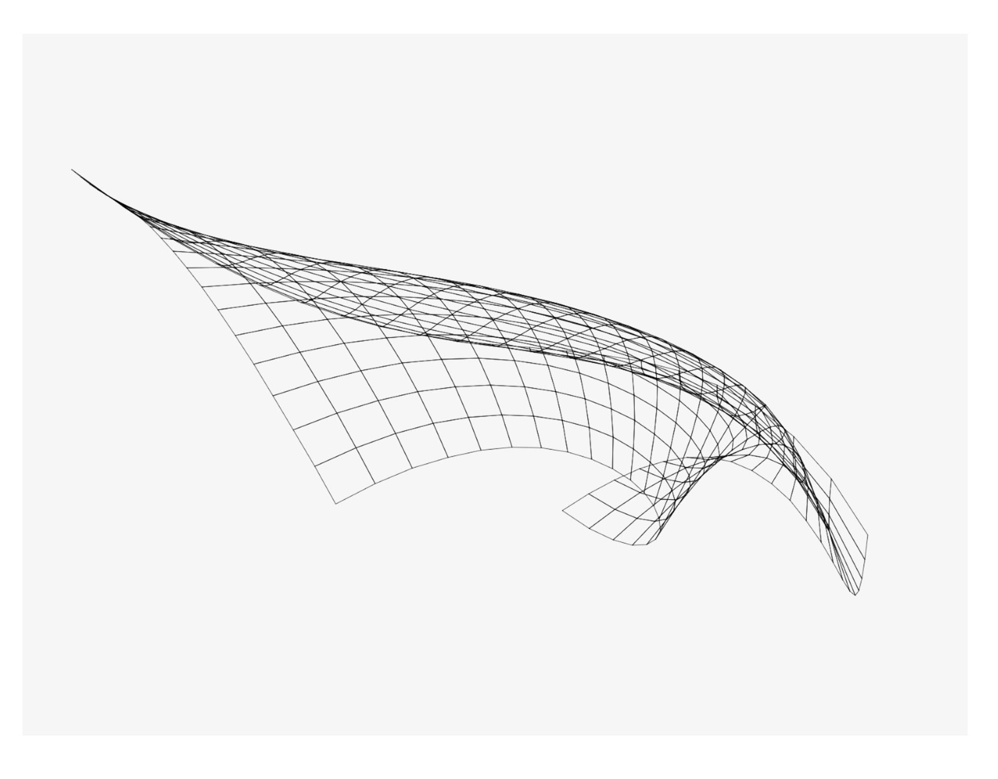 """Image from a custom software system developed for the exhibition, which reconstructs Steven A. Coons' pioneering mathematical technique for parametric surface representation, the """"Coons patch,"""" enabling users to interact with it."""