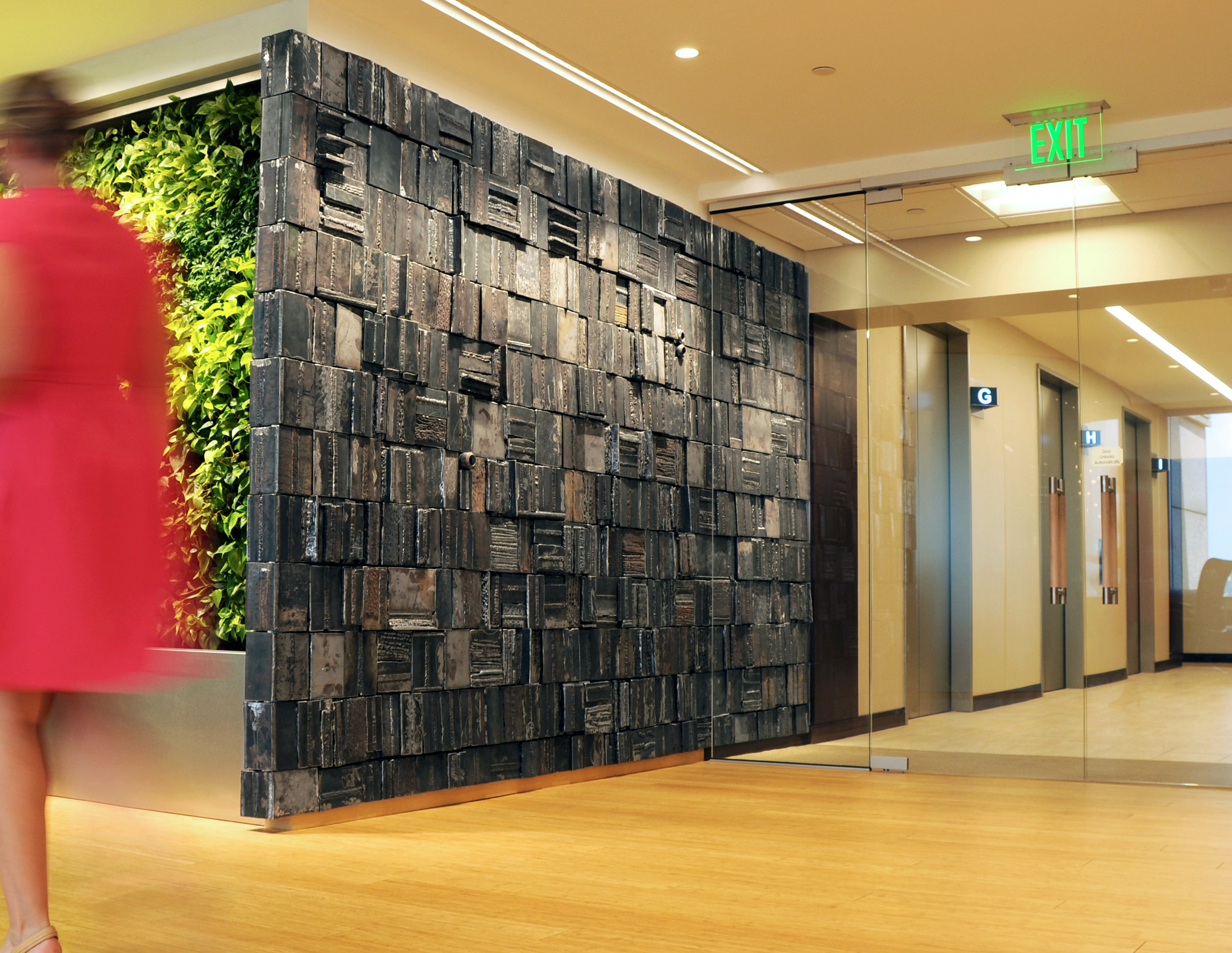 Feature wall installed in the entrance to The Heinz Endowments' office