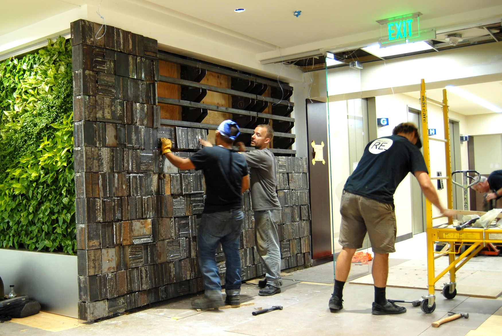 Prefabricated panels of steel blanks were designed to be carried and installed by two people.