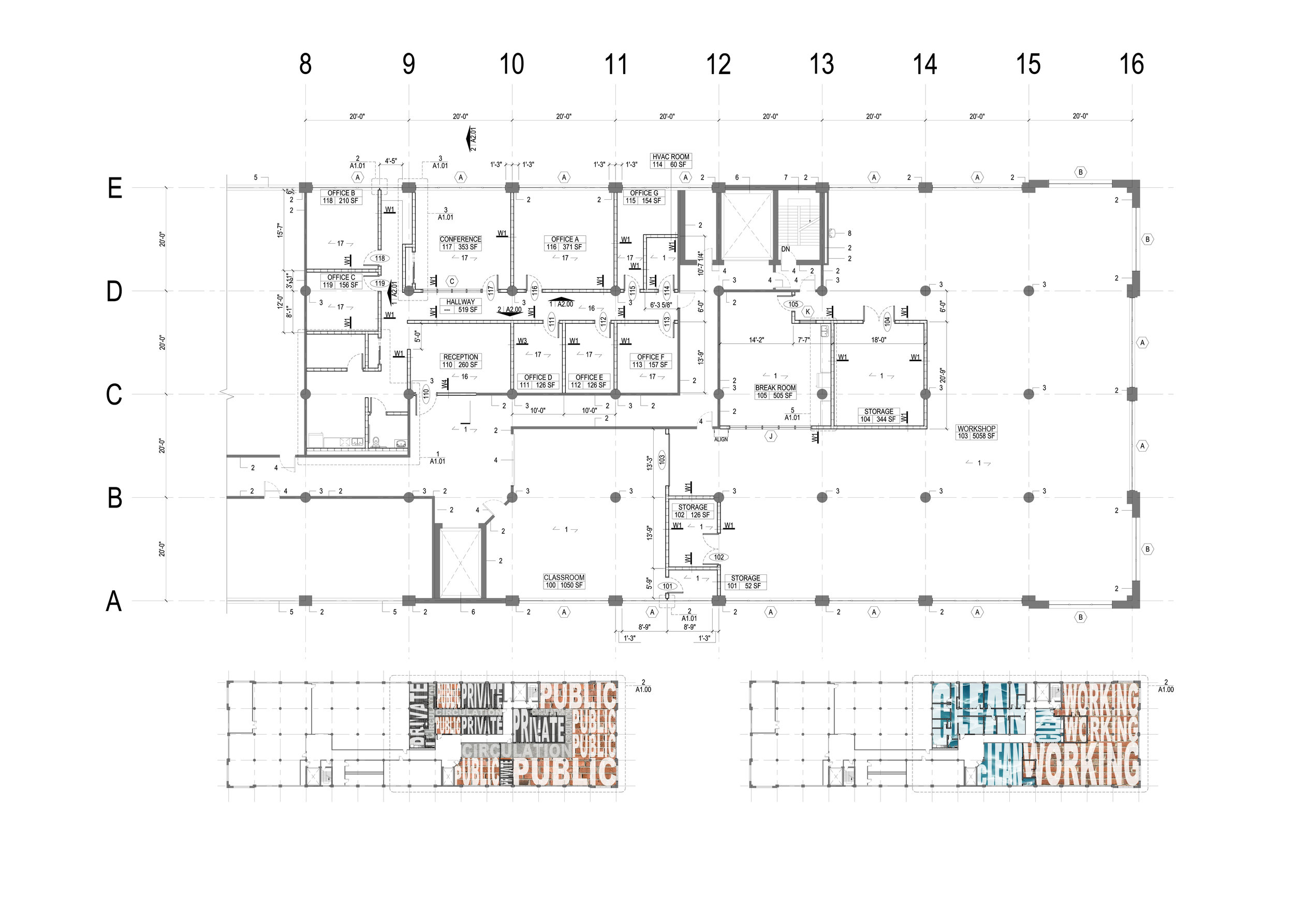 TIP tenant fit-out plan with diagrams for clean vs working space and private, public, and circulation space