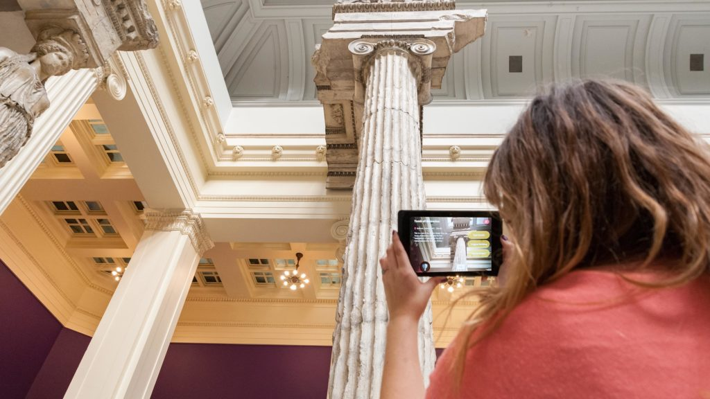 The ReCast app overlays information about the museum's architectural casts over a live camera view of the collection.