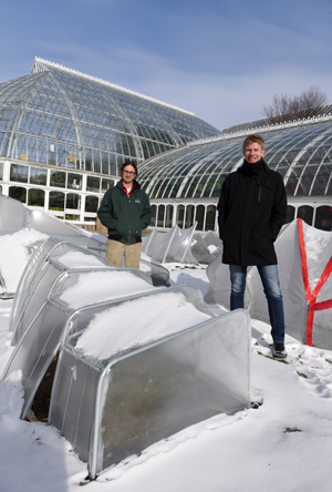 Michael Bechtel (left), edibles coordinator at Phipps and Joshua Bard, assistant professor at CMU's School of Architecture worked together with students from CMU to create these unique cold frames.