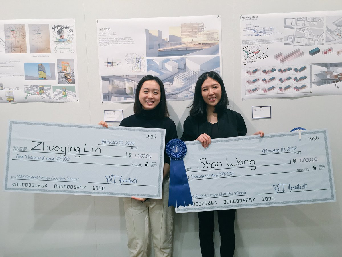 Third-year B.Arch students Shan Wang and Zhuoying Lin won the BLT Architects Student Design Charrette, earning a grand prize of $1,000 each and summer internships with the firm.