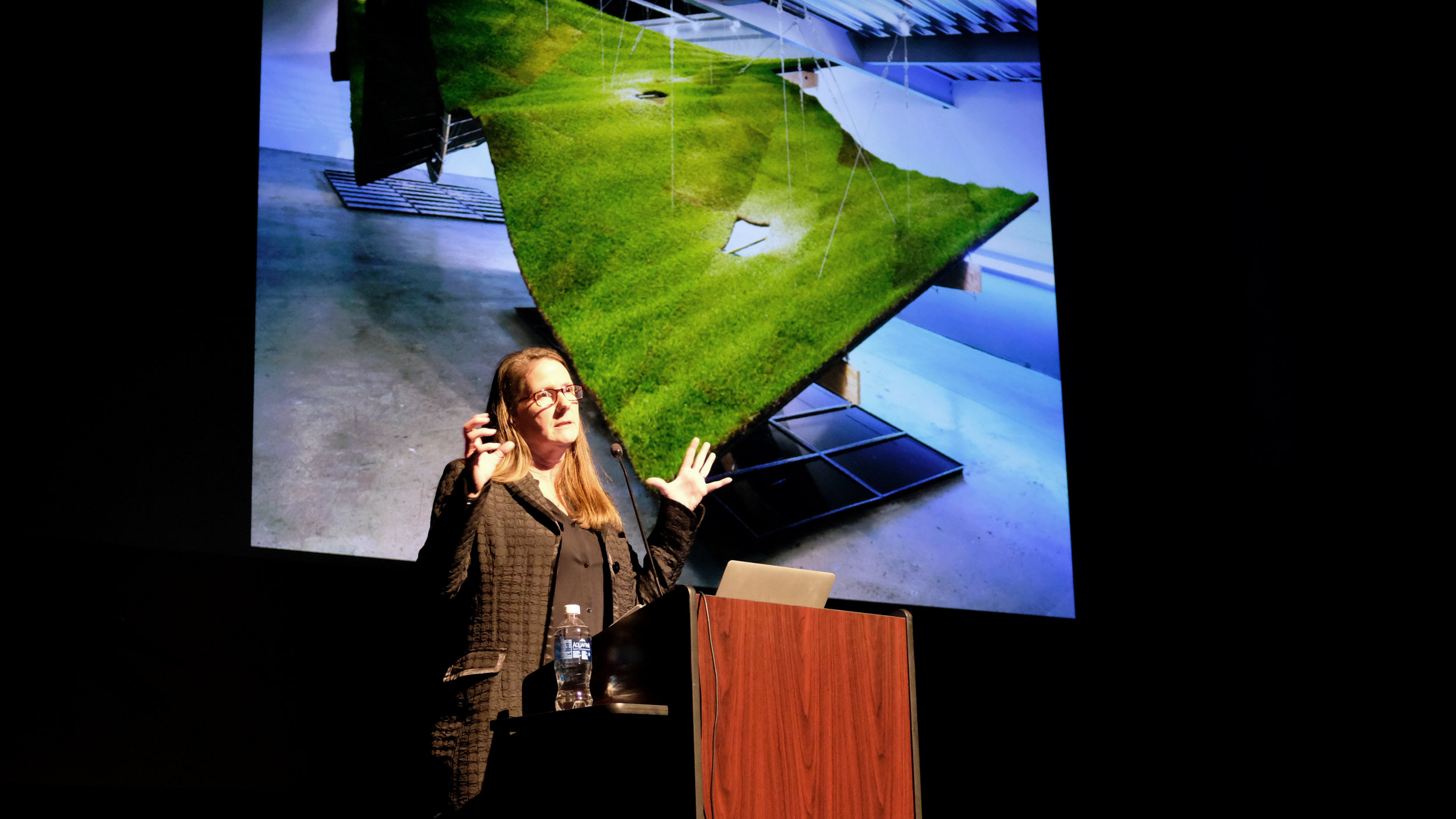 """Margaret Griffin, FAIA, co-founder and principal of Griffin Enright Architects, visited Carnegie Mellon University School of Architecture to deliver her talk """"Towards a New Authenticity"""" on Monday 5 February 2018. Photo by Christina Brown."""