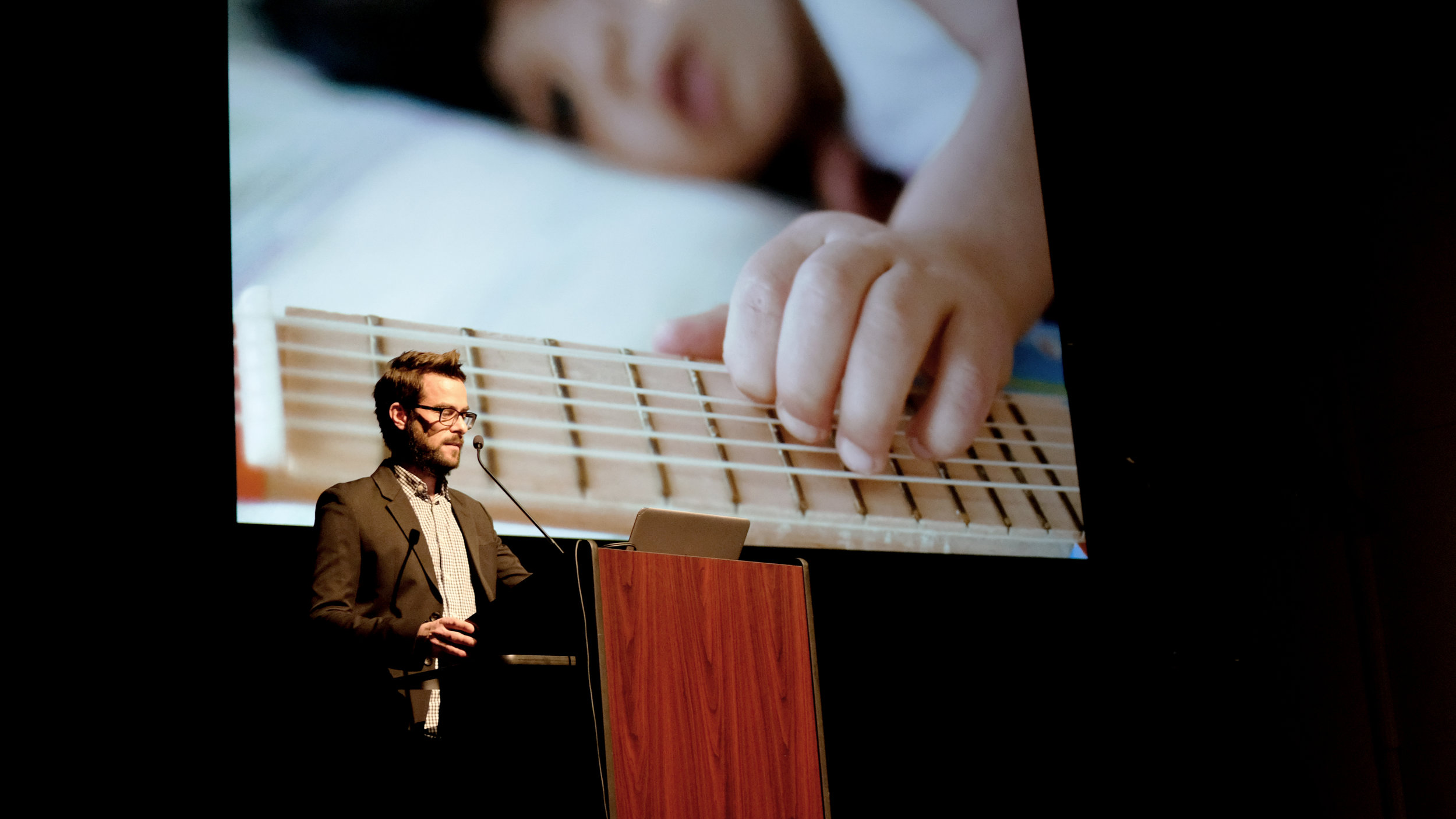 Sean Ahlquist, Assistant Professor of Architecture at the Taubman College of Architecture and Urban Planning, shared his work on Social Sensory Architectures with students, faculty, and guests at Kresge Theatre on Monday, 19 February 2018.   Photo by Christina Brown.