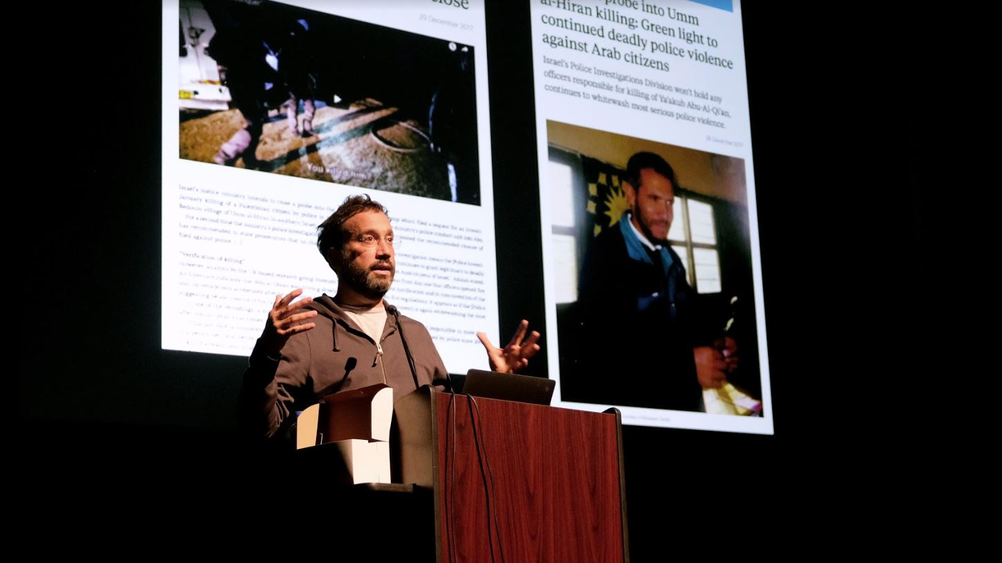 Eyal Weizman, professor of Visual and Spatial Cultures at Goldsmiths, University of London and director of Forensic Architecture, shared his work with students, faculty, and guests at Kresge Theatre on Tuesday, 9 October 2018. Photo by Christina Brown.