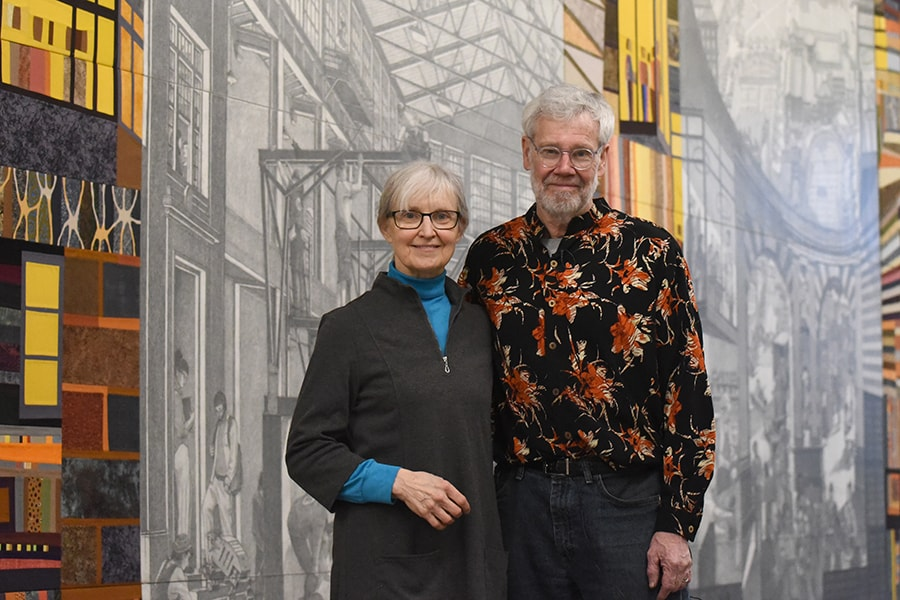 The mural outside Simmons Auditorium in the Tepper Building was created by CMU architecture professors Stefani Danes and Doug Cooper. Image credit: Carnegie Mellon University