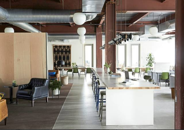The interior of the Detective Building in East Liberty. Beauty Shoppe transformed three floors of the former police bureau into co-working space. Image: TRIB Live