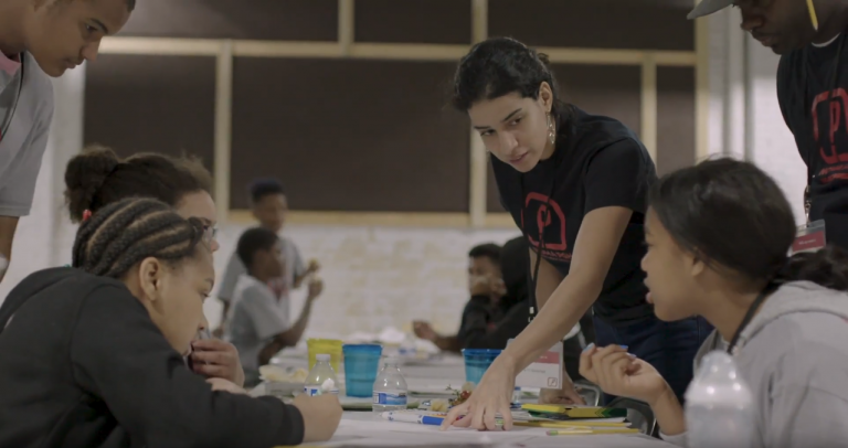 Victoria Acevedo, Assoc. AIA, mentoring elementary school students at NOMA PGH's Project Pipeline Architecture Camp. Image: Nic Lockerman