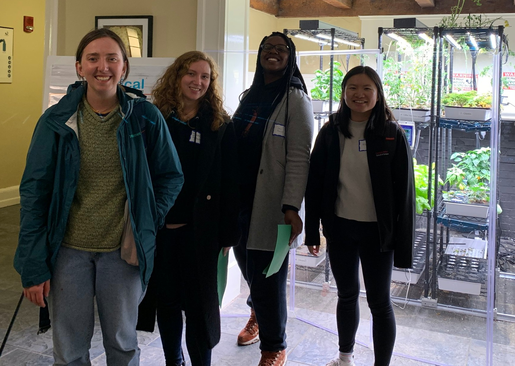 The project team included (pictured left to right) Juliana Landis, Environmental Sciences and Economics from the University of Vermont; Julia Tricca, Art and Environmental Studies from Clark University; Dana Barnes, Psychology and Architecture from the University of Hartford; Kelly Li, Architecture at Carnegie Mellon University