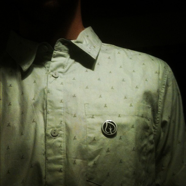 """Zach Hatlestad  is lookin' very fresh in his 1"""" button, a great way to rock T&L when not wearing T&L!"""