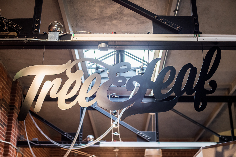 A big accent piece to our new store is the massive steel sign designed by us and built by our friend, Patrick O'Brien.