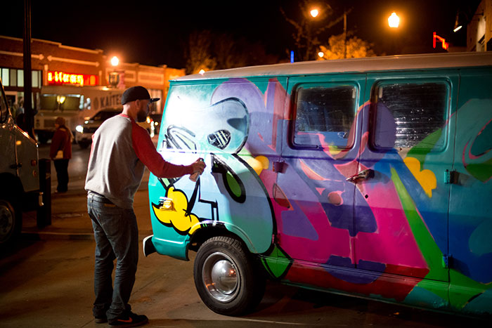 Beard contestant and painter, Jake Beeson decided to share his skilllllllz on our delivery van.