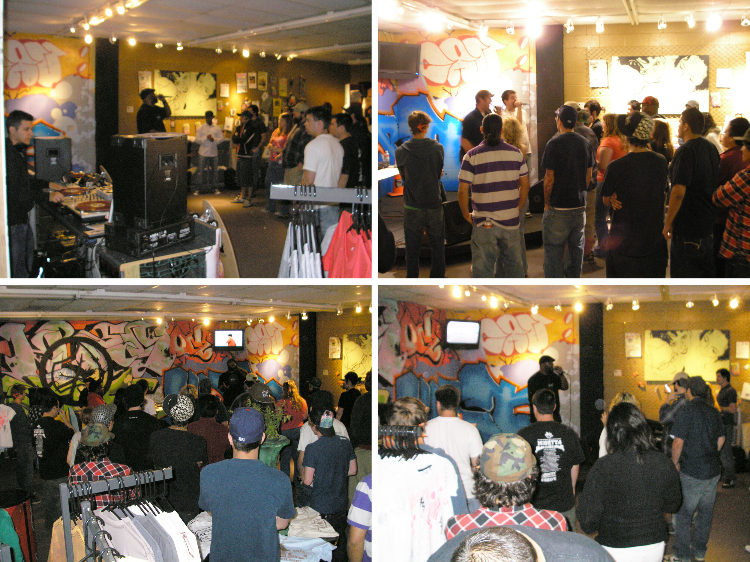 We continued to host music events in the store. Our shows ranged from hip-hop to folk. There weren't many venues in OKC at the time and our store was just big enough to host small events. These photos are of a show hosted by Jabee Williams. The performers were 8-Bit Cynics, Jivin' Scientists, and another performer from Tucson (someone remind me...?)