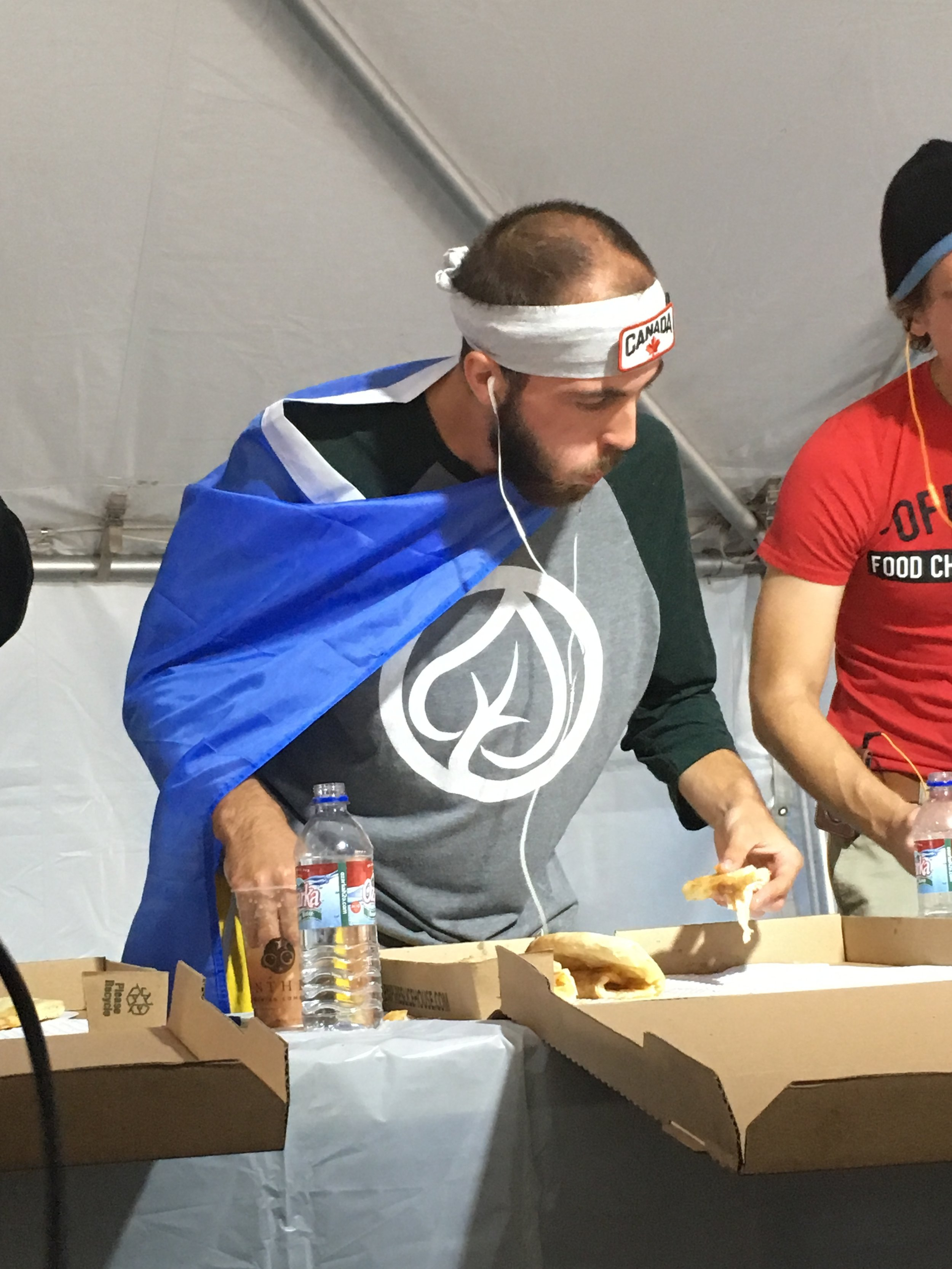 Scoping out the competition. In the end it came down to me and The Offical Food Chanllenge Shirt guy.