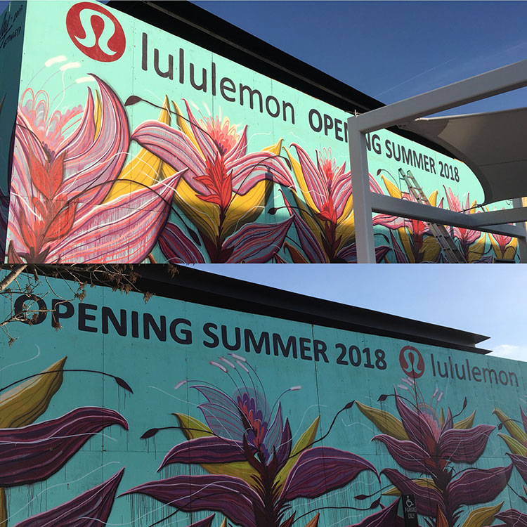 I got to help  Jason Pawley  install some lettering for lululemon in Classen Curve above his beautiful mural.
