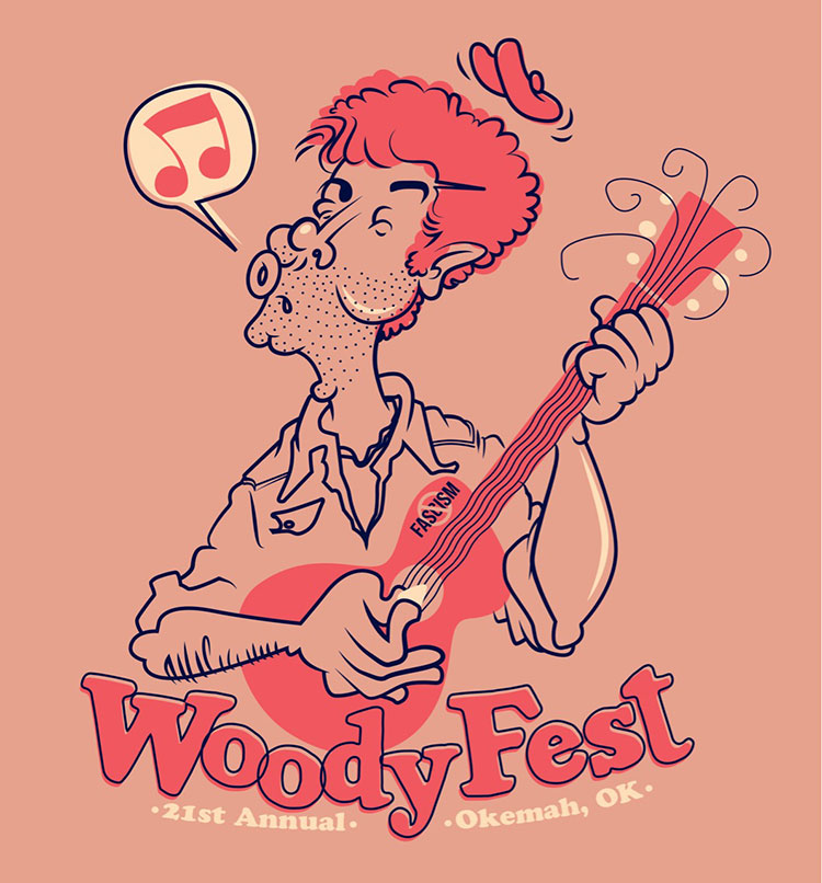 My beautiful wife,  Kristen , shares a birthday with Woody Guthrie! She's been wanting to visit the annual WoodyFest in Okemah, OK. She notified me that we could win tickets if I entered their t-shirt design contest. I haven't heard on whether my design won or not, but I really love the way this illustration turned out. Being a printer for 12 years has really influenced the way I design; loose registration makes this a printers dream!