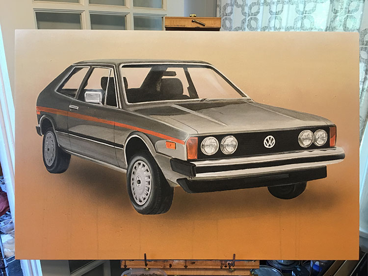 I submitted a painting to Fowler Auto's V-Dubs on AutoAlley art show. This 2x3 is a 1974 Volkswagen Scirocco  Champagne Edition . I had no idea this car even existed until a month ago. It's basically a suped-up Rabbit and I think its hella dope. Still looking for a home for this one, so inquire about price if you're interested!