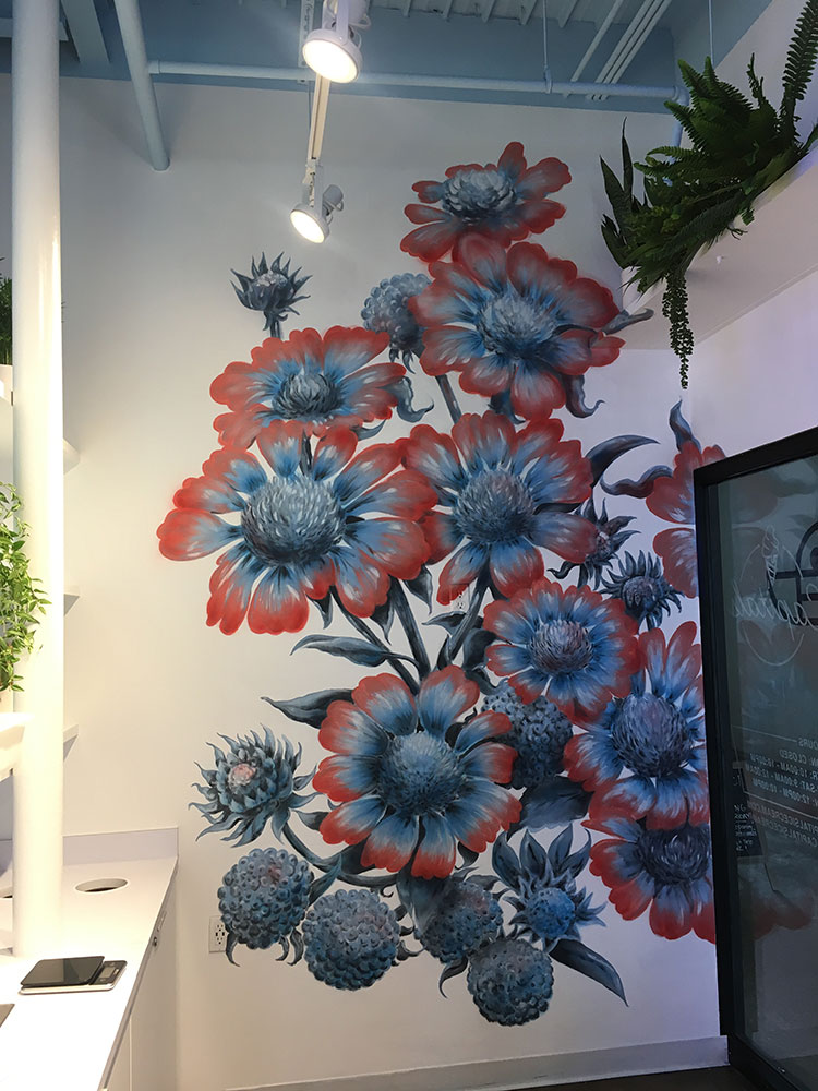 There's a new ice cream shop in town! The fine gentlemen at  Capitals Ice Cream  asked if I could paint some flowers on the wall. This was a totally new style for me, but I'm pretty stoked on the outcome. These 12' flowers took over 20 hours to paint and we knocked it out in two days. Very glad to have  Kristen Vails  and  Lindsay Zodrow  help paint for a few hours!