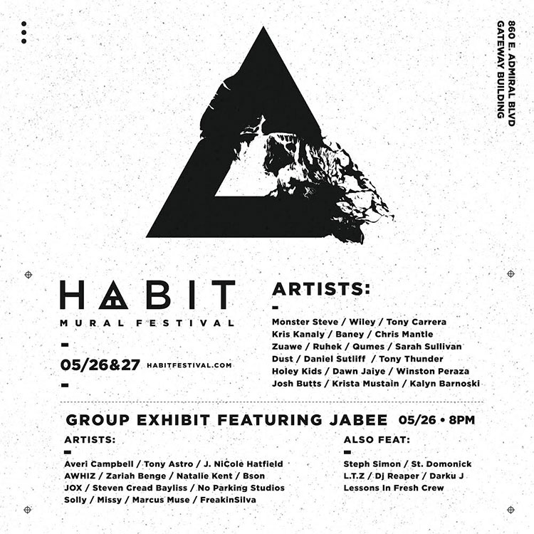 This Saturday and Sunday is  HABIT Mural Festival  in Tulsa! I've been drafting up images of what to paint, and I'm pretty stoked on what I have lined up. I figure this is an opportunity to paint what I want and challenge myself, so I'm going up with some big plans. Keep up on  our Instagram stories and posts  to see what I'm up to on the day-to-day.