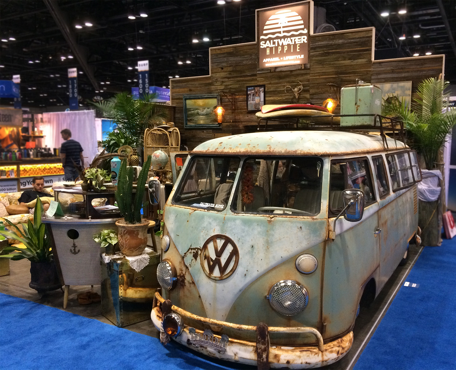 Saltwater hippy kicked their booth up a lot with tons of vintage items all around in addition to their old rusty bus that everyone loves.