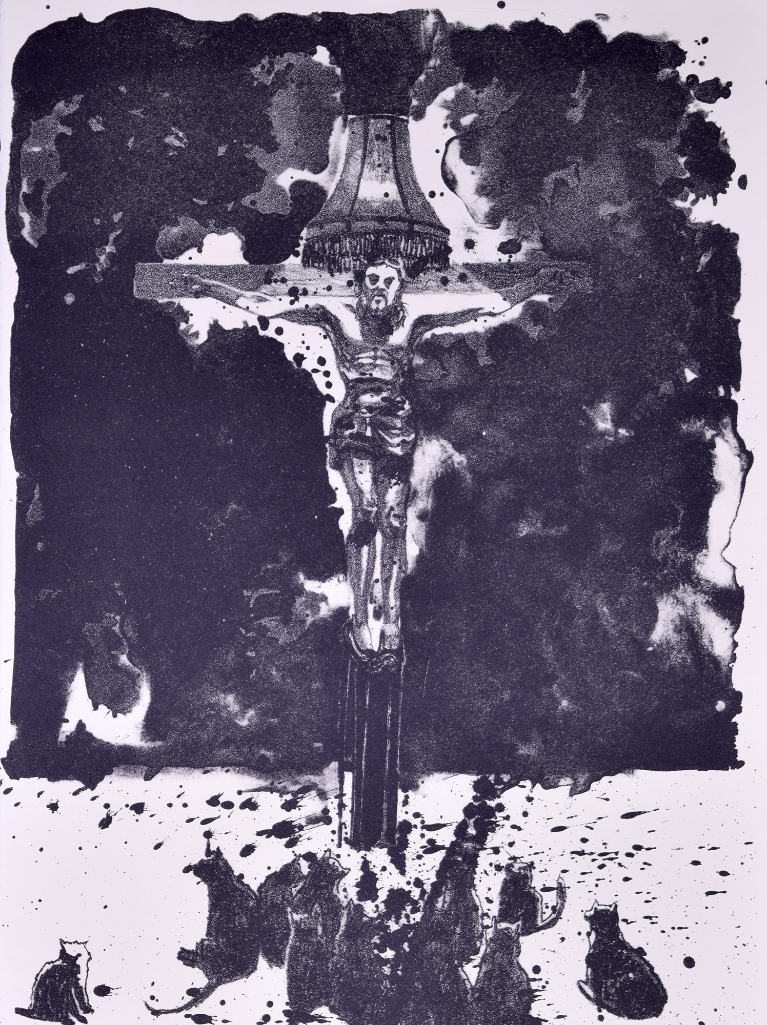 """jesus freak, lithograph with tusche, 11""""x15"""""""