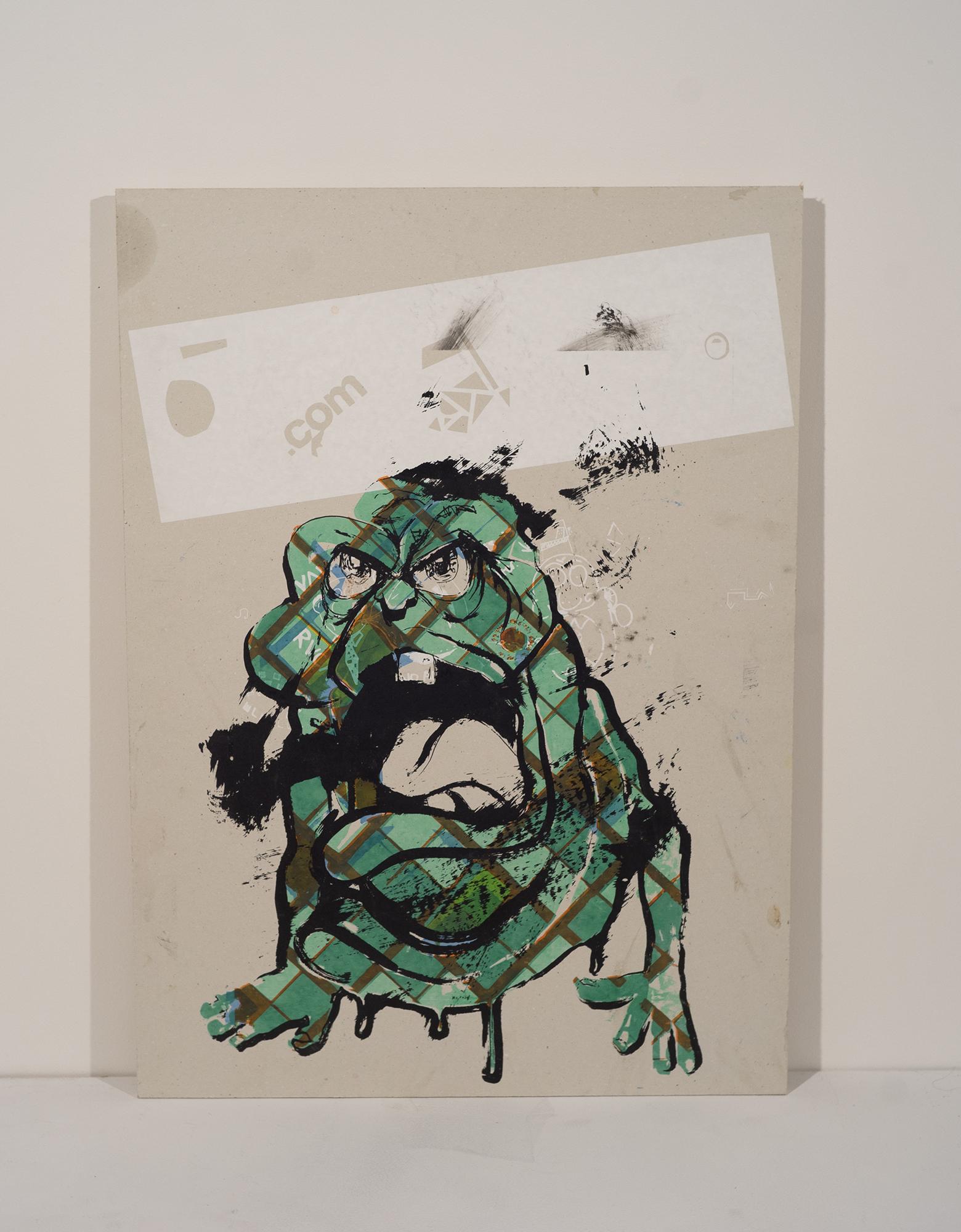 """bad-day slimer, silkscreen with vinyl plotter mask, 18""""x24"""""""