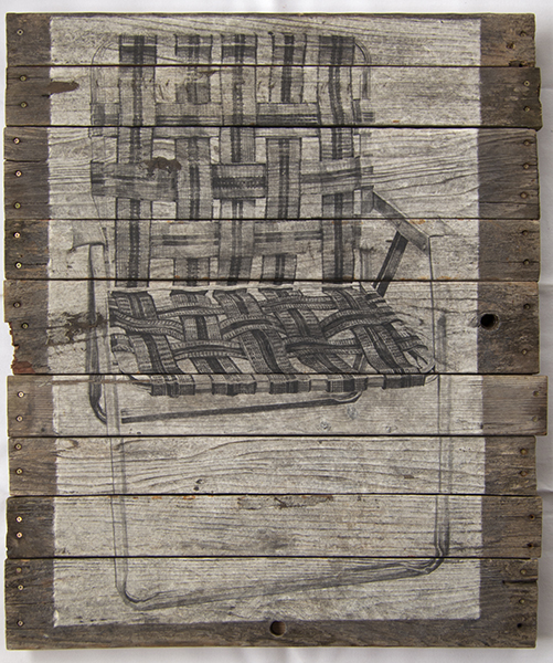 """Recollection I, lithograph on mulberry mounted to old dock 36""""x48"""""""