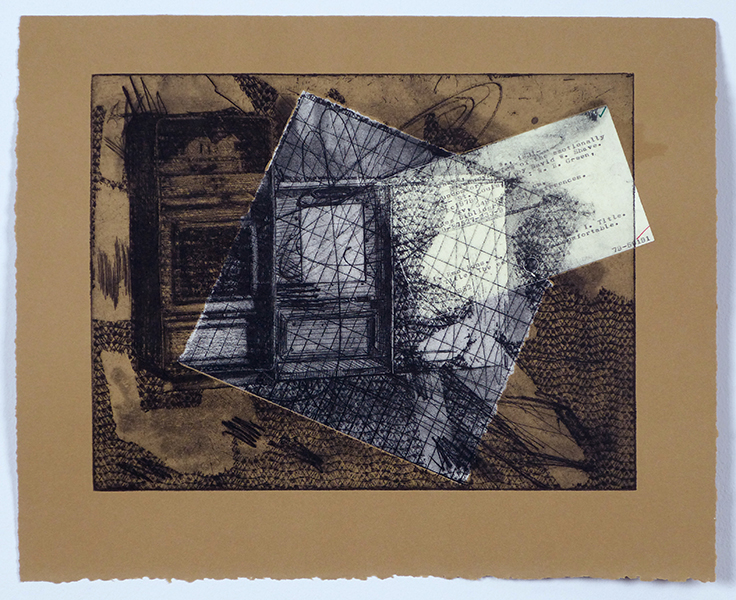 """thermodynamics of the emotionally uncomfortable, etching and chine colle, 11""""x15"""""""