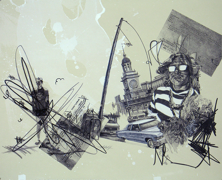 """self seekers, lithograph with xerox transfer, 22""""x30"""""""