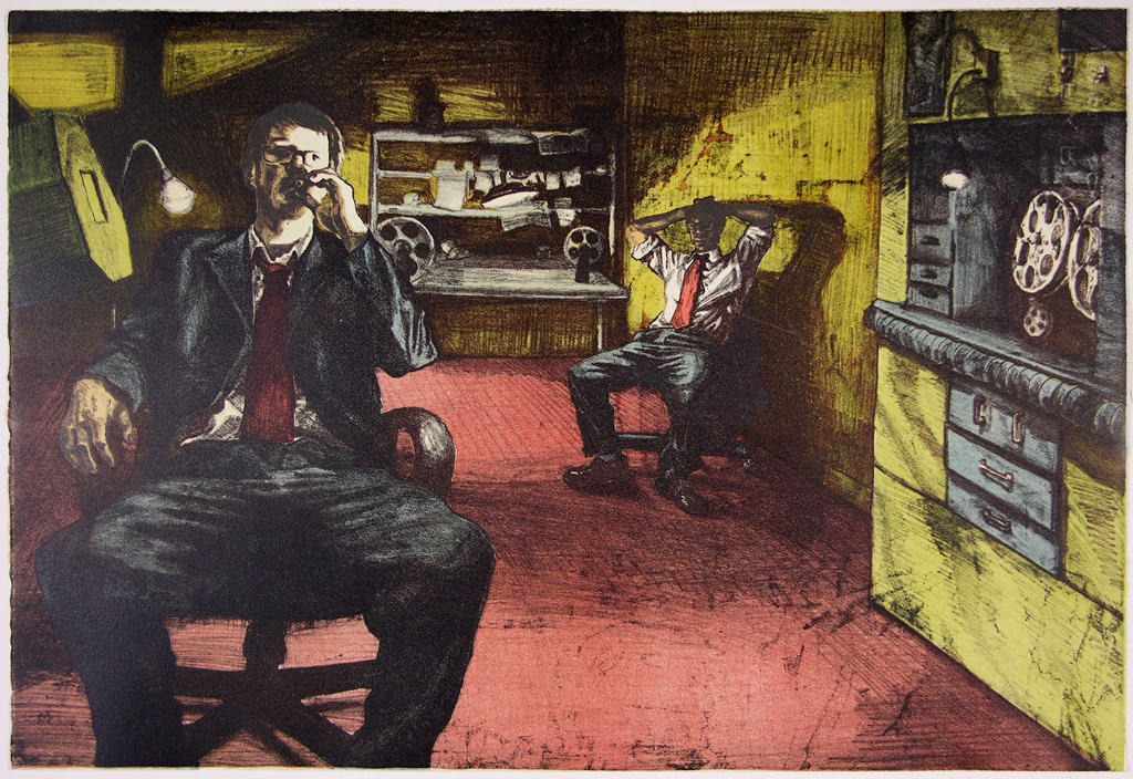 """night jobs, color lithograph, 15""""x22"""""""