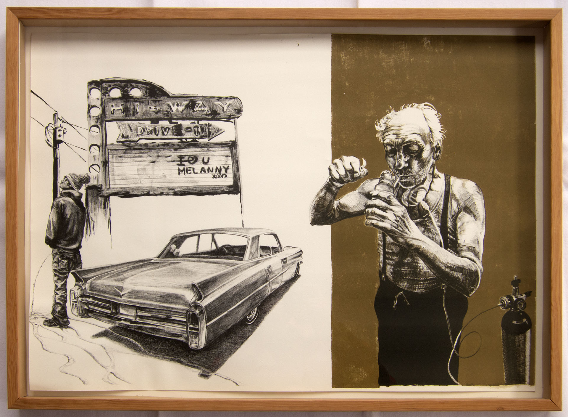 """nothing like an old junkie, color lithograph, 22""""x30"""""""