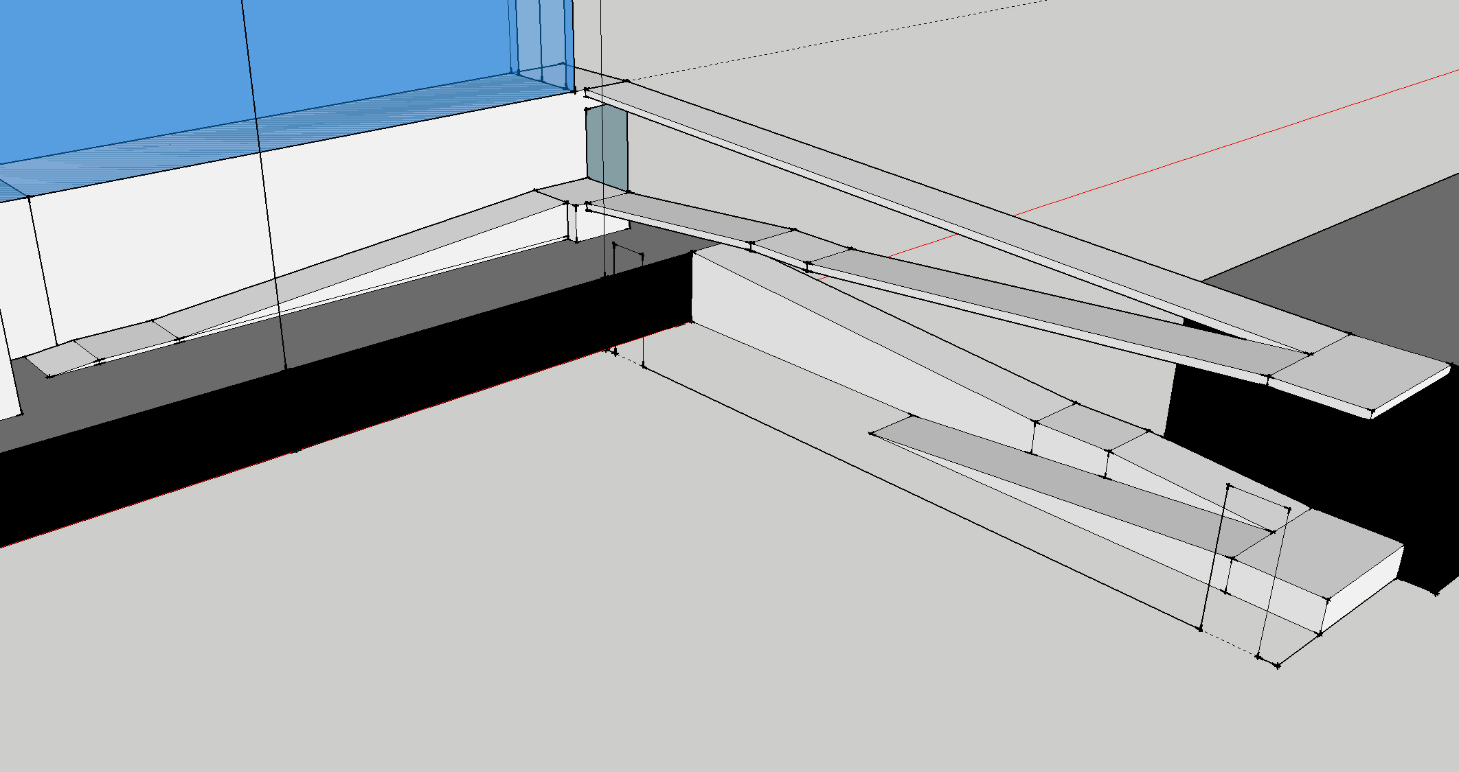 The ADA-compliant ramp system that I designed to navigate the grade changes between the different CLOTH properties.