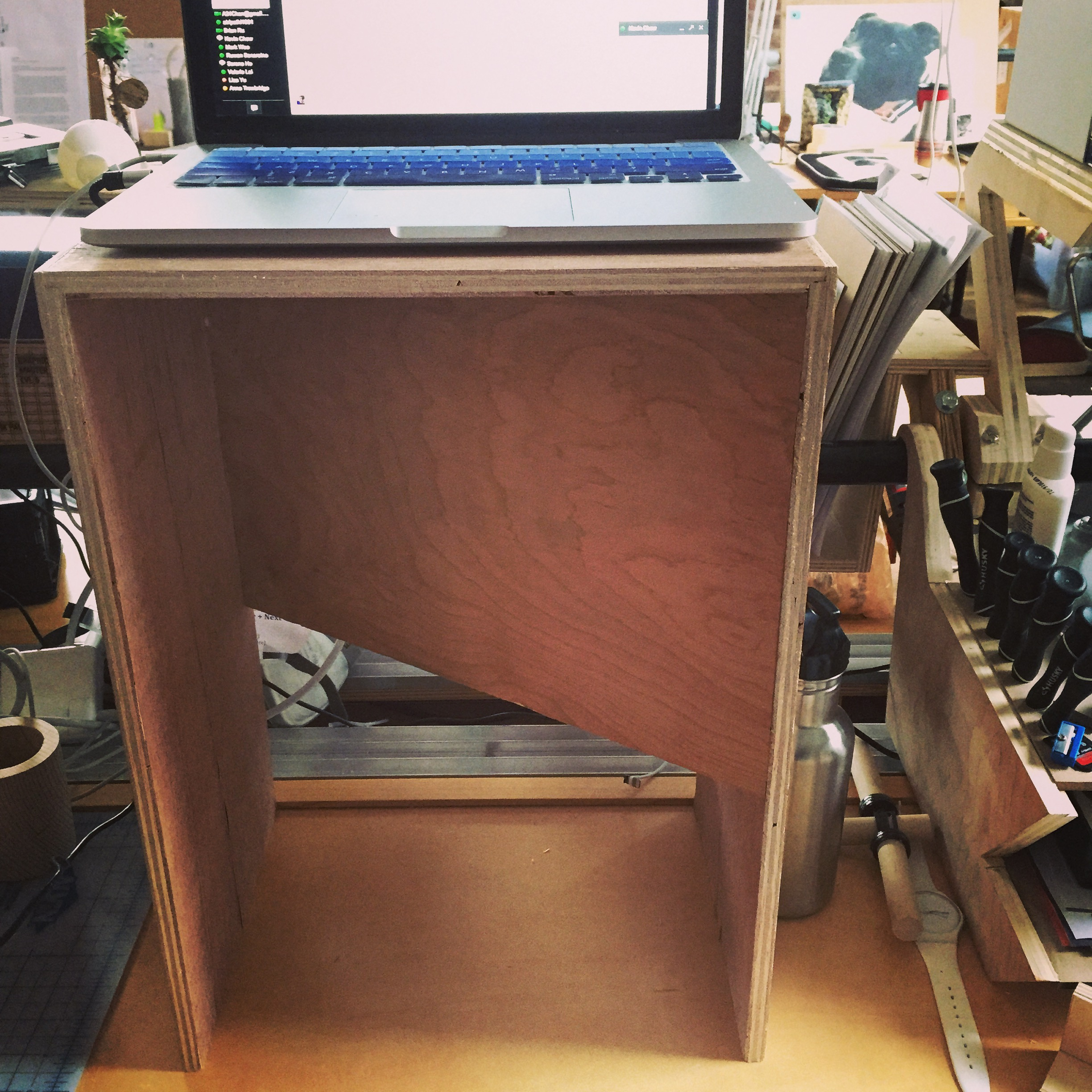 Week 2: Another  Donald Judd  inspired work. I used the design for one of his iconic chairs and converted it into a portable standing desk for my workspace at Products of Design.