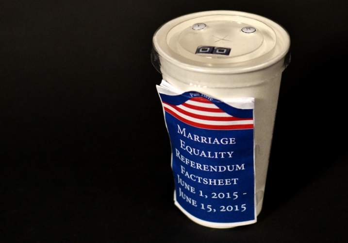 An early prototype that envisioned the fast food drink container as a ballot for referenda.