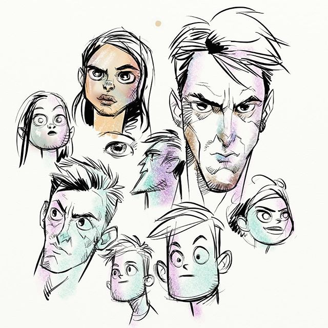 Drawin faces! I think artrage doesn't get enough love.  The drawing tools are the best. #dailydraw #doodle #artrage #faces #sketch