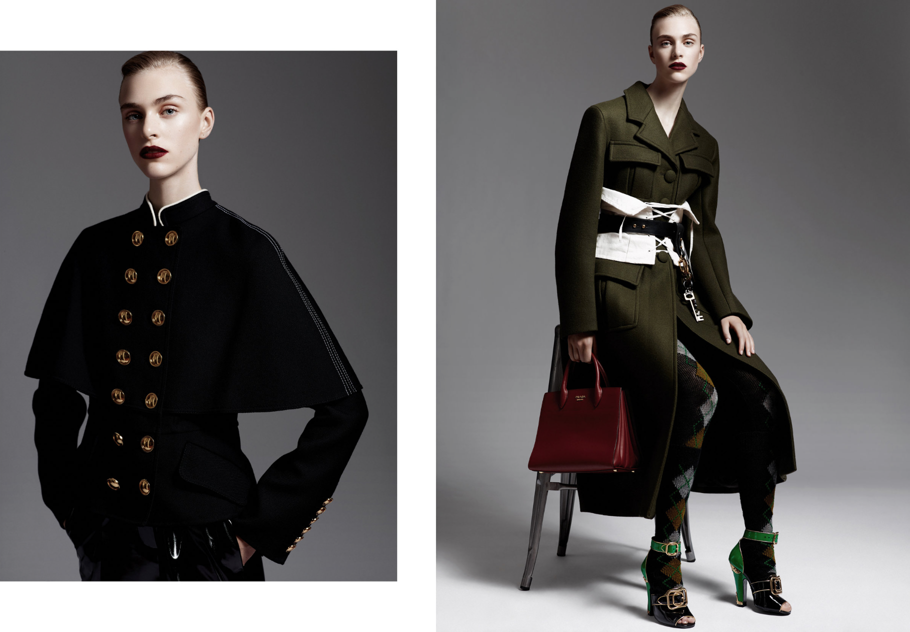 Hedvig is wearing: On the left:  BURBERRY Jacket , Tome pants. On the right:  Everything PRADA