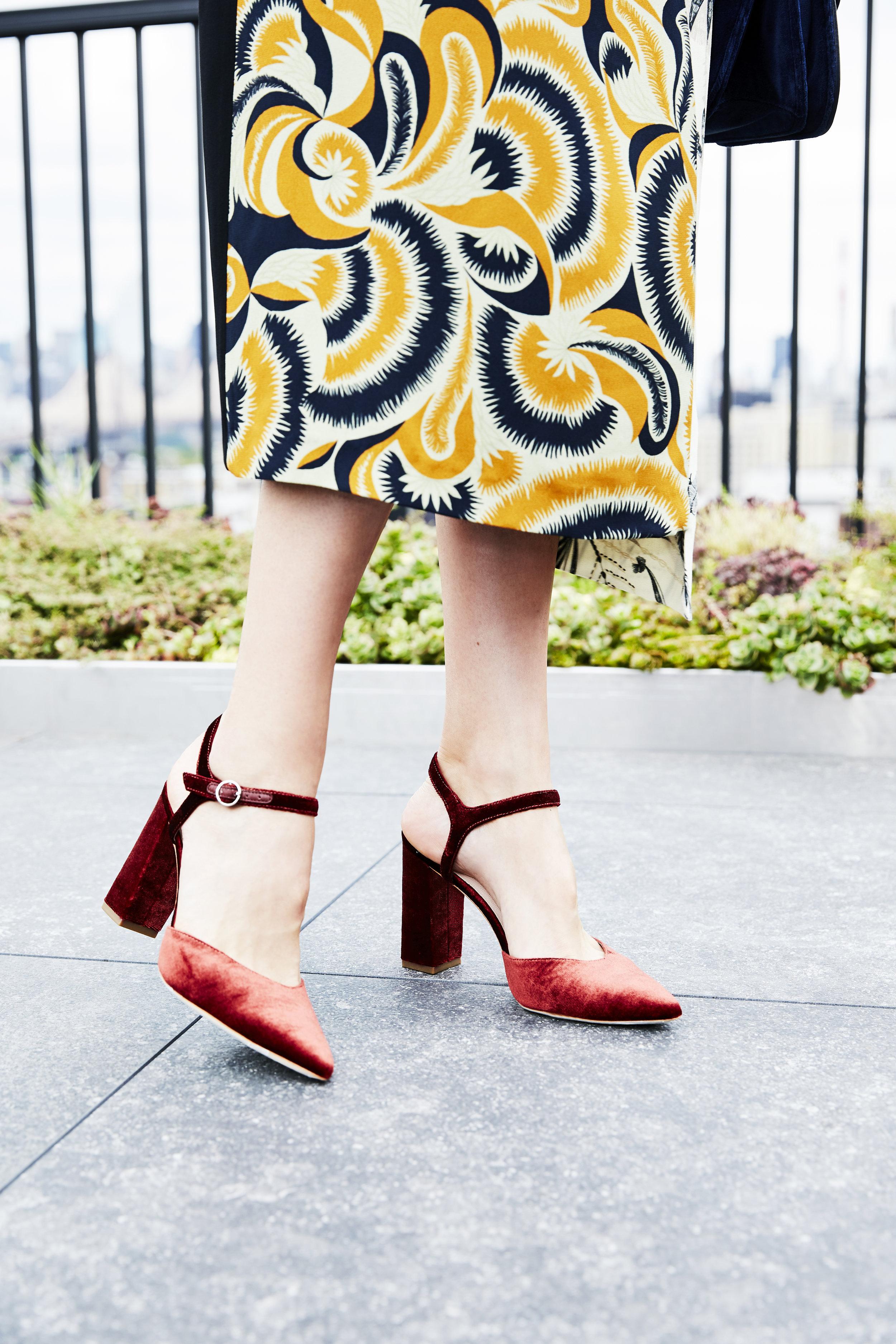 LOEFFLER RANDALL Leily Velvet Pumps  /  DRIES VAN NOTEN Floral & Fern-Print Dress  /  MARK CROSS Dorothy Velvet Shoulder Bag