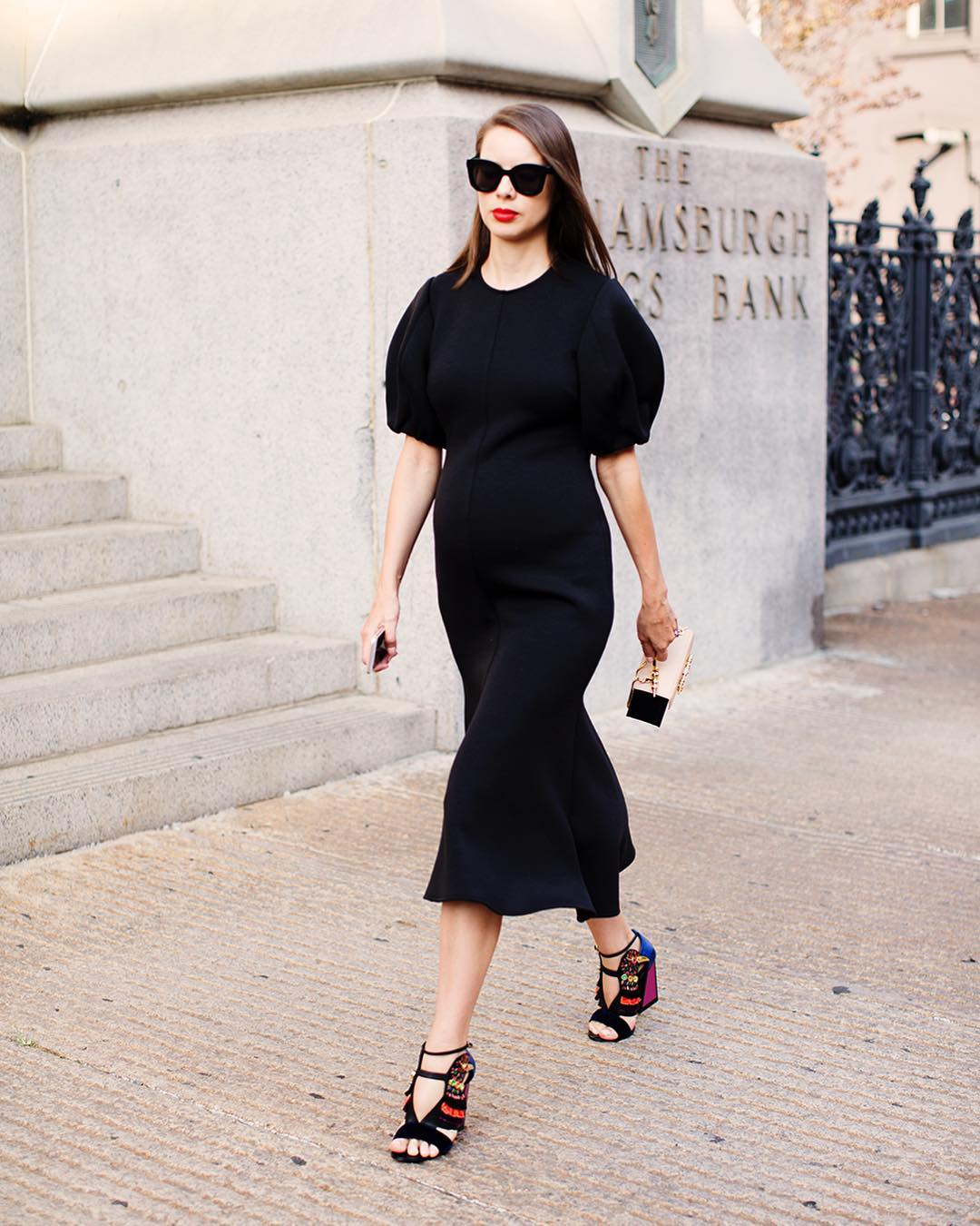 I'm wearing:   Beaufille Neptune fluted jersey midi dress ,  Kat Maconie Shoes ,  Okhtein Bag , Celine Sunglasses.
