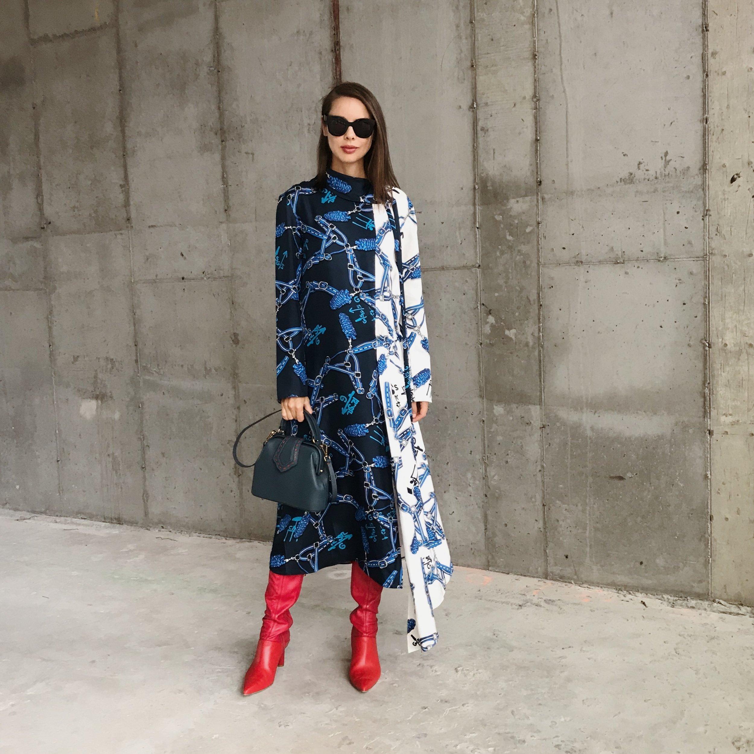 I'm wearing:   Tibi Dress  and  Boots , Mehrymu Bag, Celine Sunglasses.
