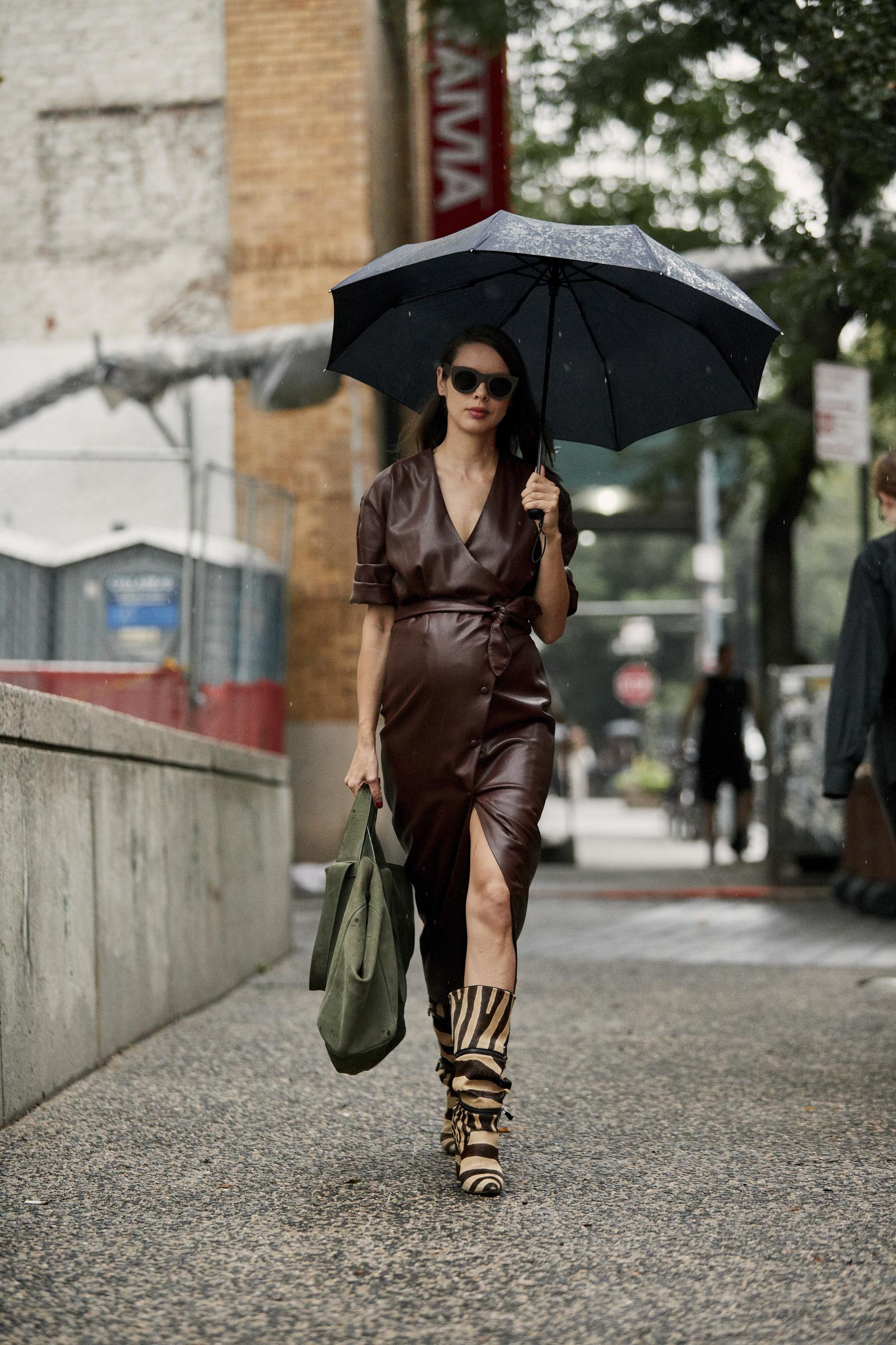 I'm wearing:   Nanushka Dress ,  Paul Andrew Boots ,  Noan Bag , Celine Sunglasses.