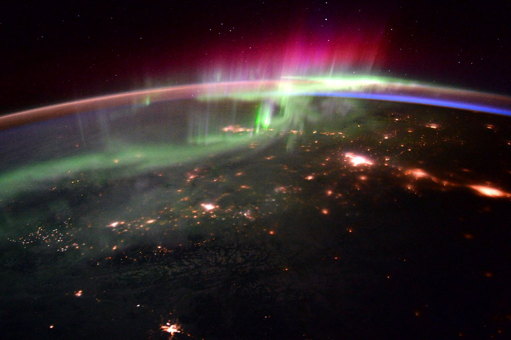 A view of an aurora and the Pacific Northwest. Photograph by Scott Kelly.