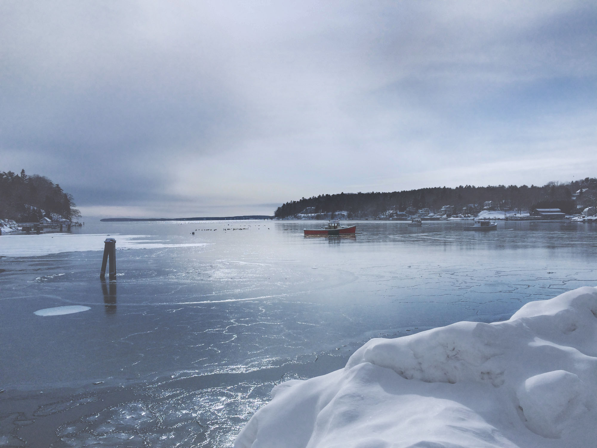 An icy view over the water in Rockport ME