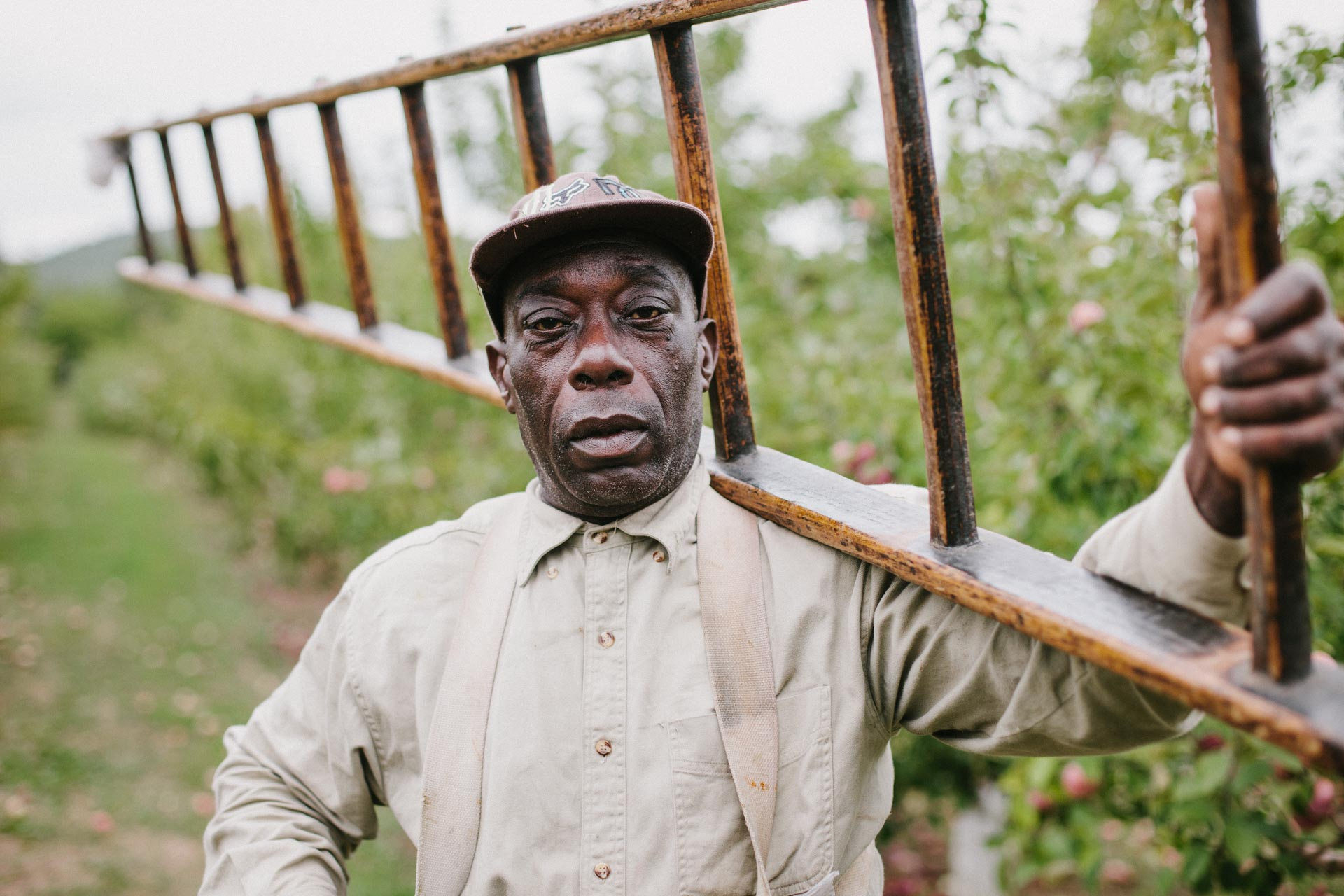 Portrait of farmworker on apple orchard by Boston Photographer Adam DeTour