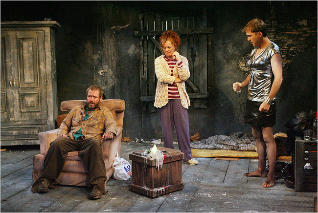 Marty Maguire, Noel Brown and Tim Ruddy in a scene from Marie Jones, Rockdoves
