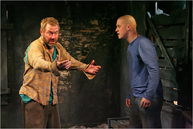 Marty Maguire and Johnny Hopkins in a scene from Rockdoves by Marie Jones