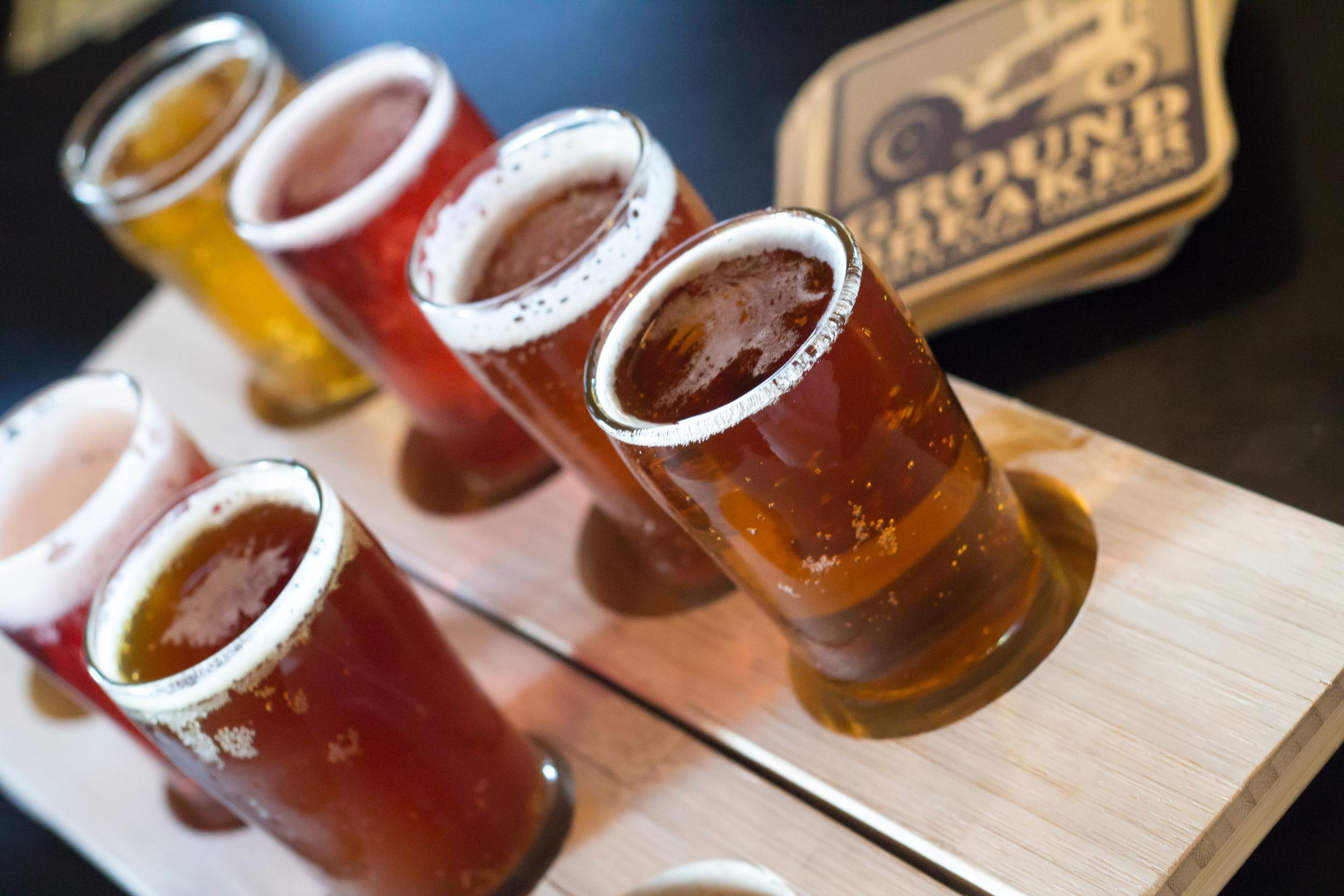 Flight of Ground Breaker Brews, all Gluten Free Beer
