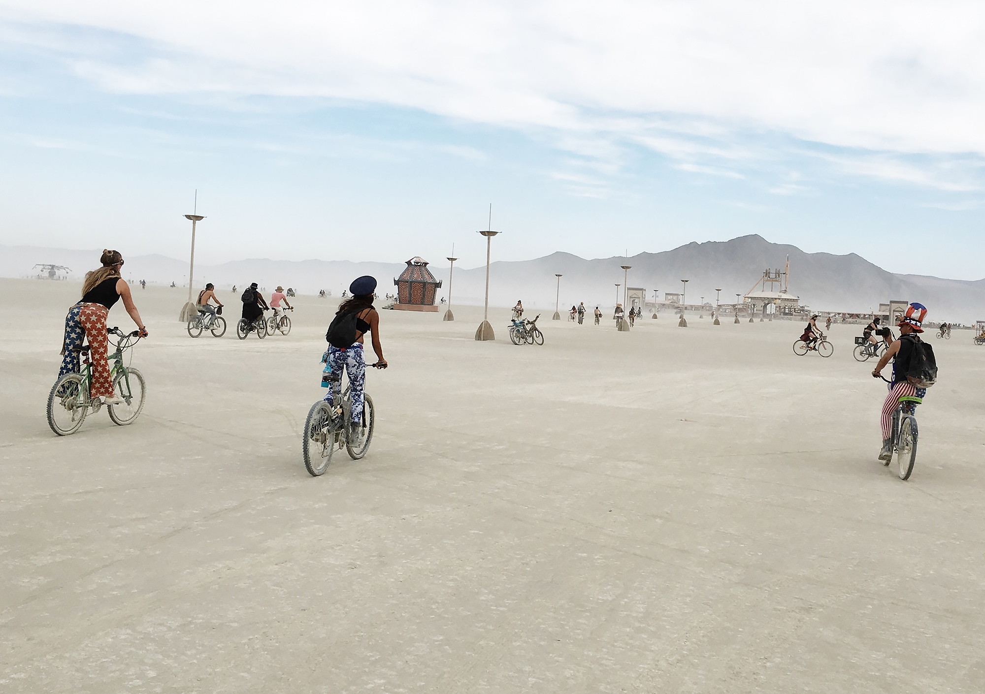 Biking across the playa.