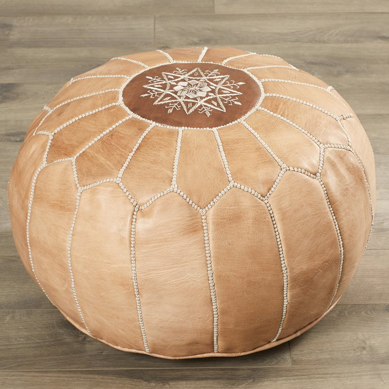 Handmade Leather Moroccan Pouf, $77.95