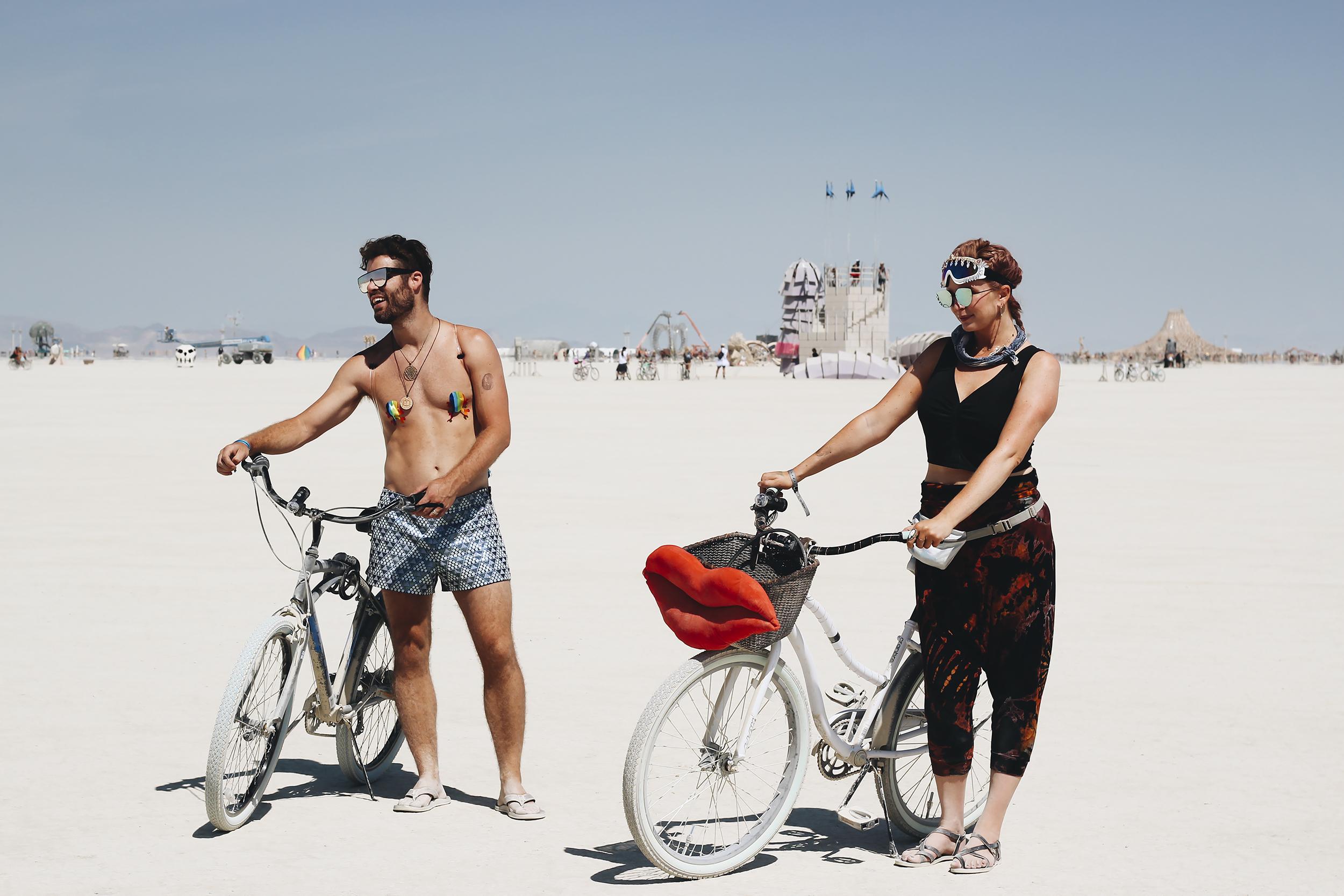 We biked around to look at art.